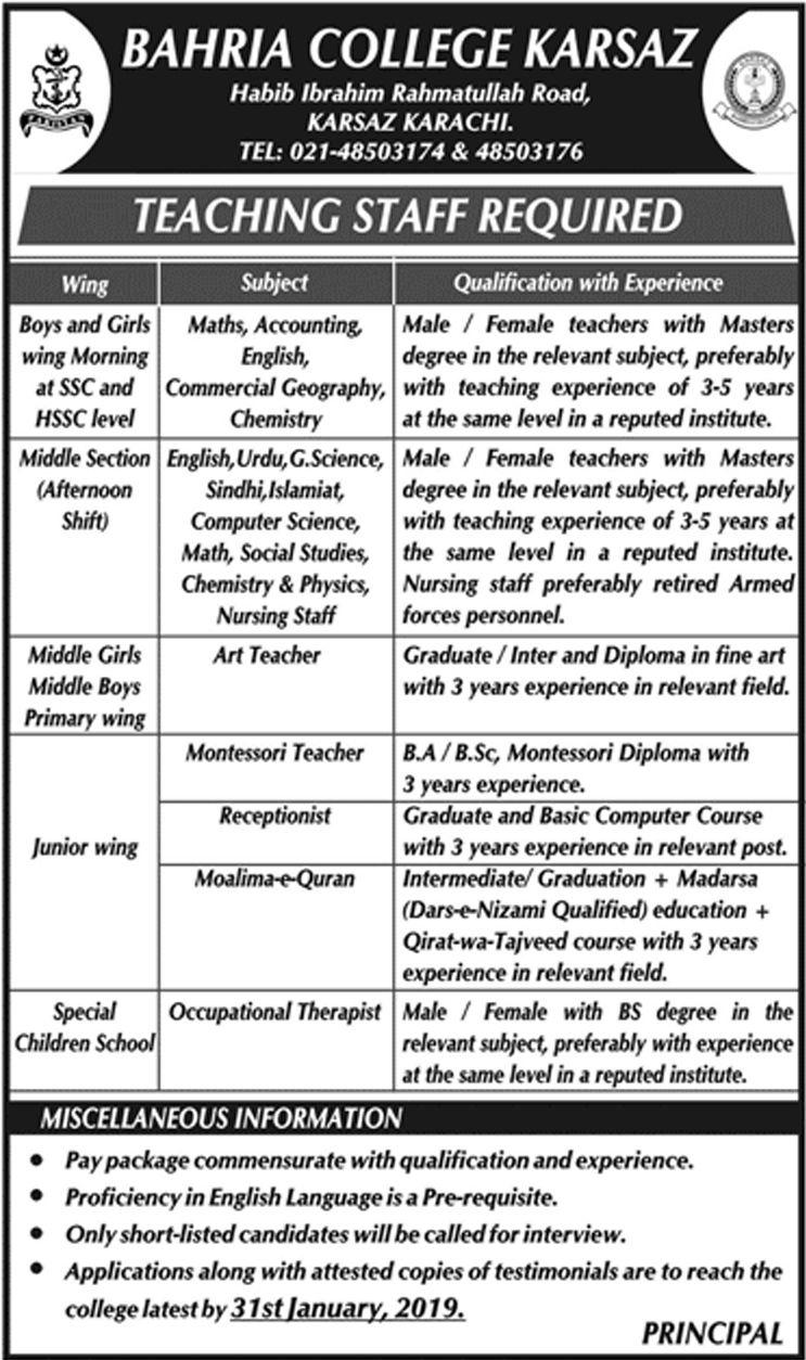 Bahria College Karsaz Latest jobs Karachi Jobs in