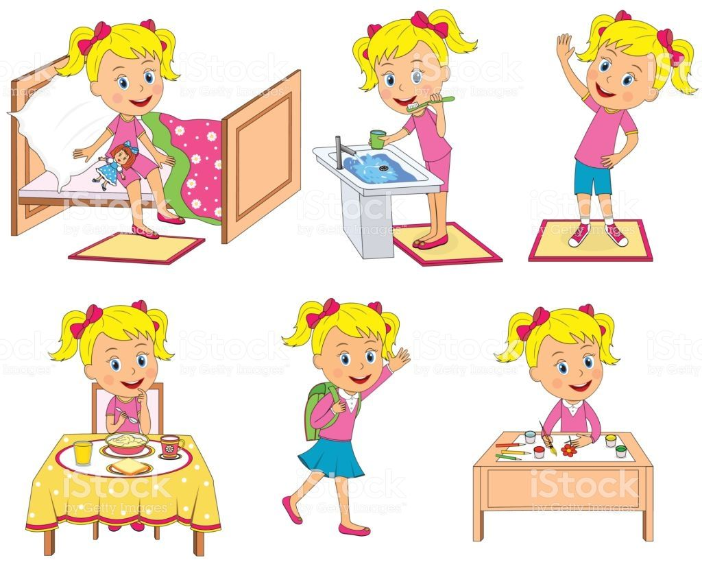 Kids Daily Routine Illustration Vector