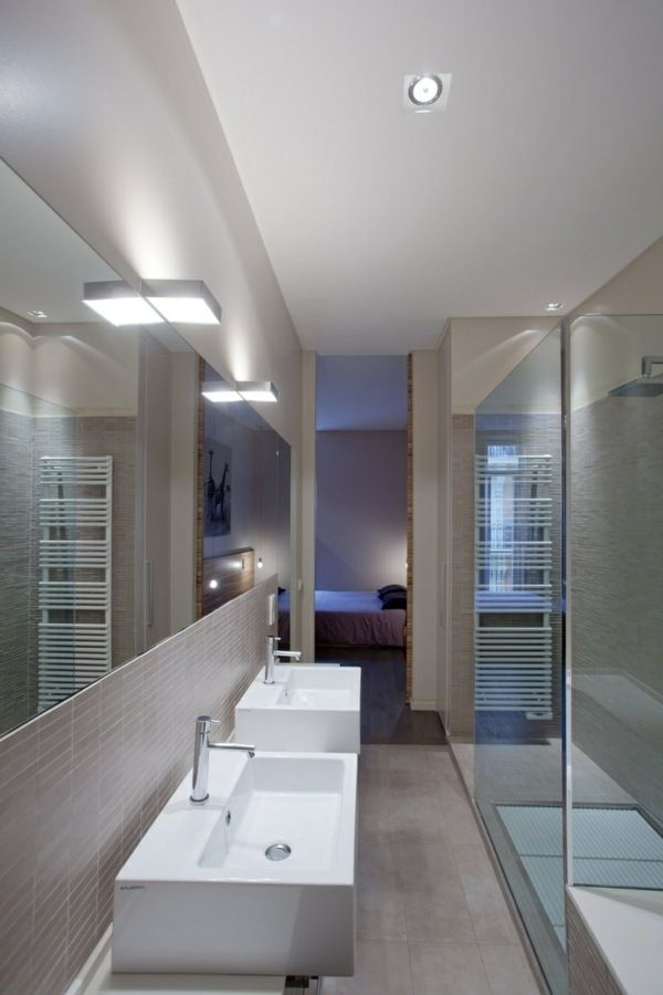 kleines badezimmer schmale duschkabine beige matt fliesen | bad ... - Bad Einrichten Beige