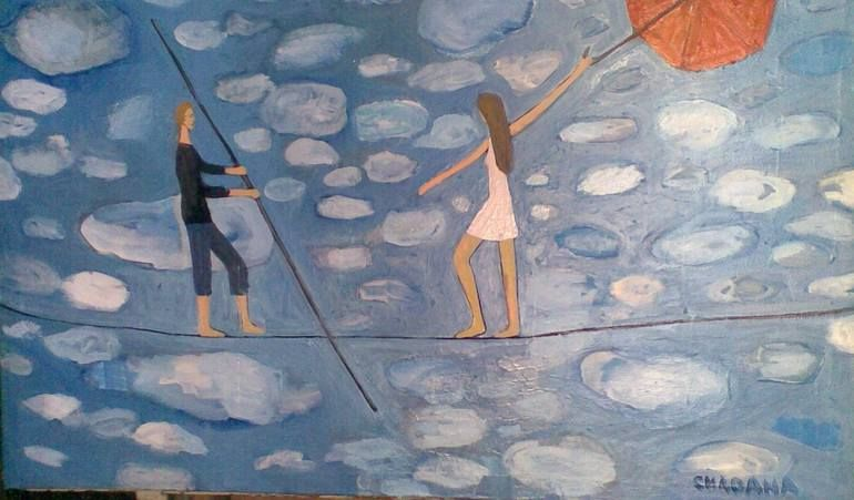 Couple On The Wire Painting Painting Art Figurative Art