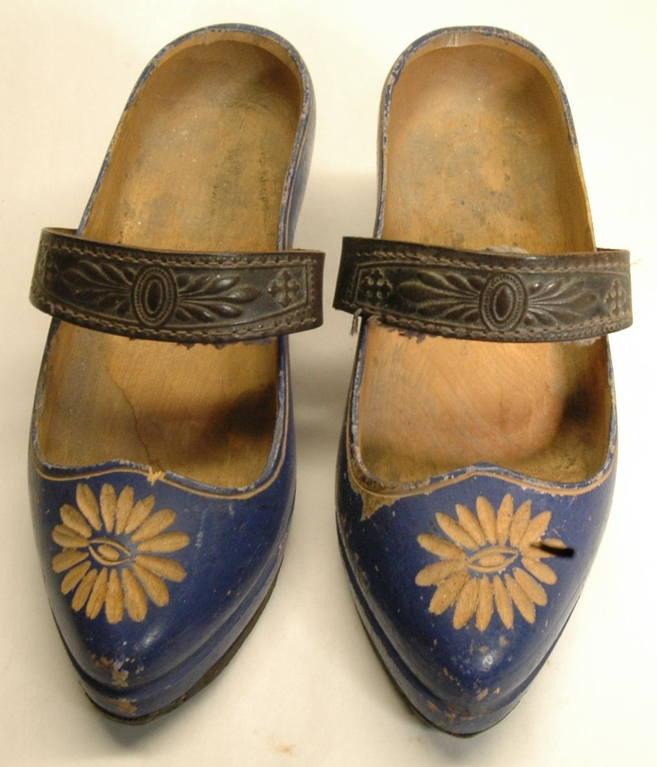 vintage little wooden shoes with straps holland all