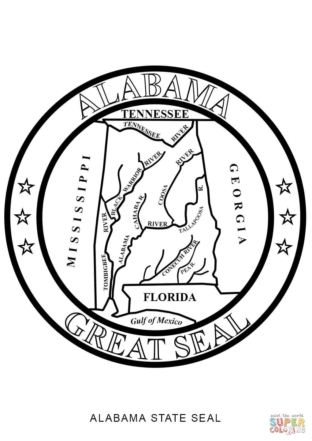 Click the Alabama State Seal coloring pages to view