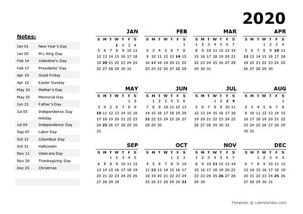 2020 Year Calendar Template With Us Holidays Free Printable Templates Calendar Template Printable Yearly Calendar Free Calendar Template