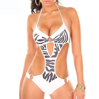 f380e2ad5eb Sexy One Piece Swim Suits 2015 Striped/Leopard Bathing Suits swimwear cut  out side Push Up cheap monokini swimsuits Mayo Plavky-in One Pieces from  Women's ...
