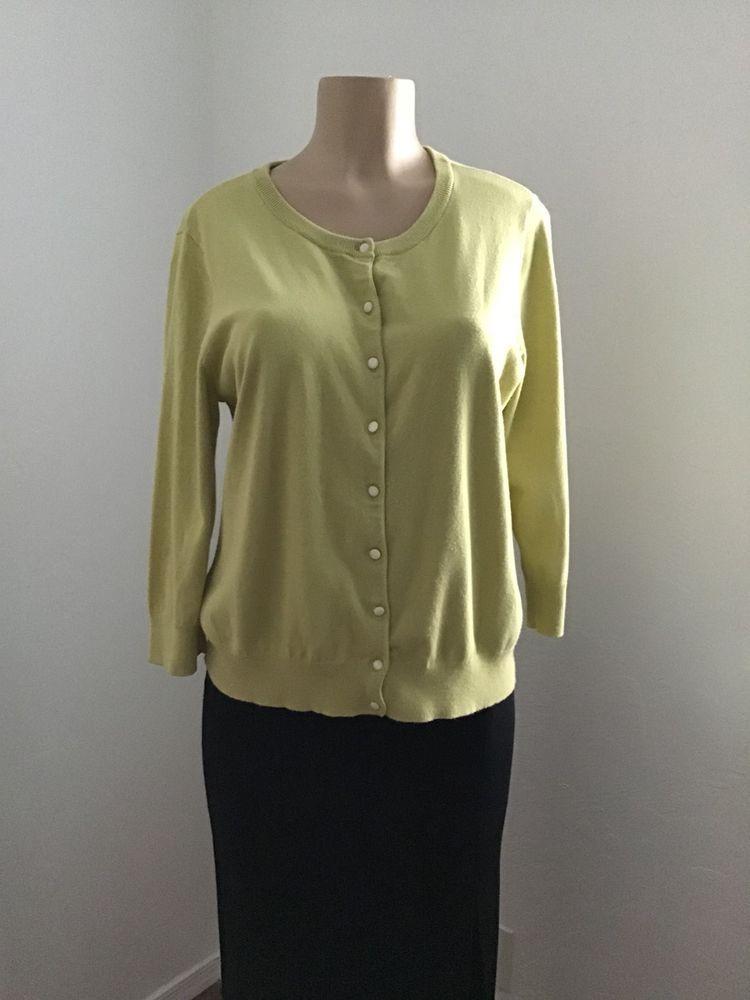 Talbots Women Cardigan Sweater Pima Cotton Size Petite XL Long ... c0efdca02