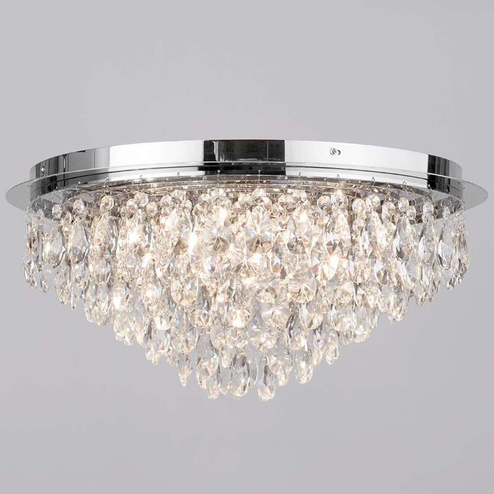 Crystal Style Flush 6 Light Ceiling Light Chrome Ceiling Lights Flush Ceiling Lights Bathroom Ceiling Light