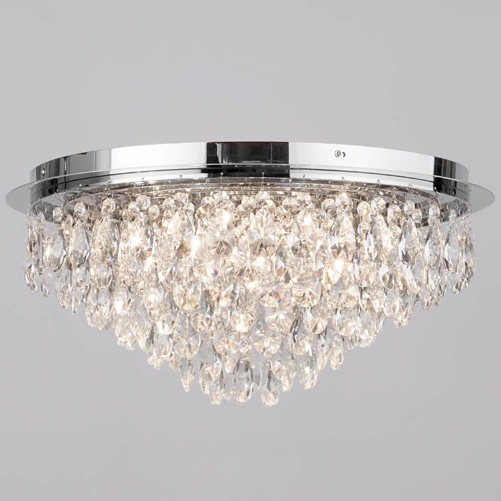 Crystal Style Flush 6 Light Ceiling Light Chrome Master Bedroom Lighting Ceiling Lights Bedroom Ceiling Light