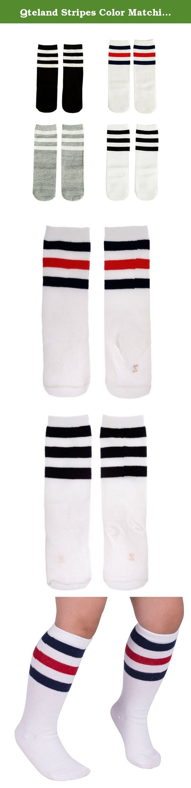 Qteland Stripes Color Matching Unisex-baby Knee High Socks Tube socks for Kids 4-pack (M(1-3 years), #1). Qteland Cotton high knee socks for Babies are an adorable and fashion item dress up your little one. Look for all of our adorable high knee socks! Available in stripes, Geometry,fox,cat,Mickey Mouse,bear, rabbit and so on. A material composition for comfort these socks are made of 75% cotton, 20% polyester, and 5% spandex for a snug, comfortable fit. Three size for your choose Size S:...