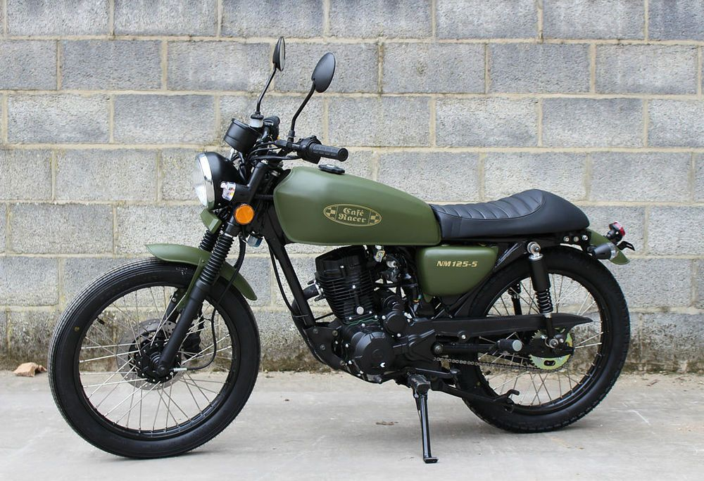 Wk Bikes Nm 125 Cafe Army Green Classic 125 Cc Motorcycle