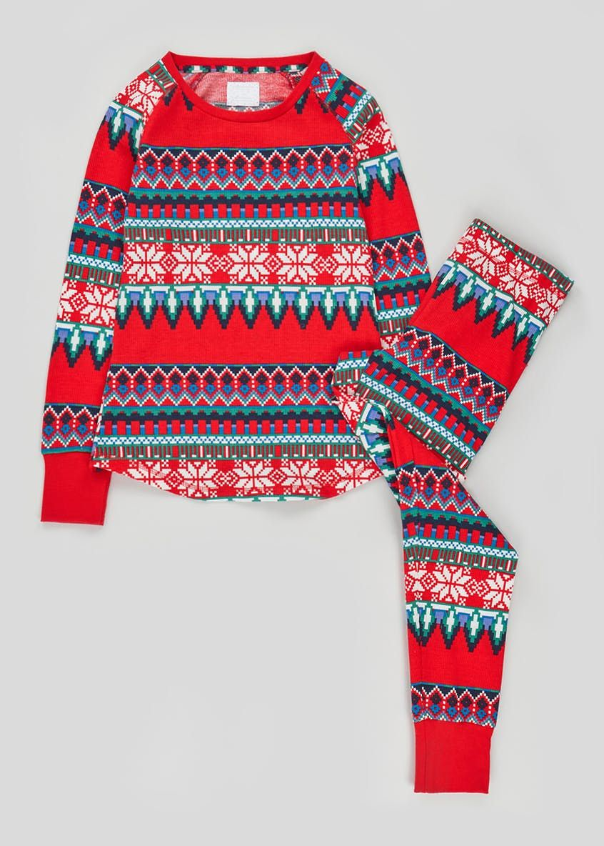 Fair Isle Pyjama Set Red Pajama set, Fair isle, Long