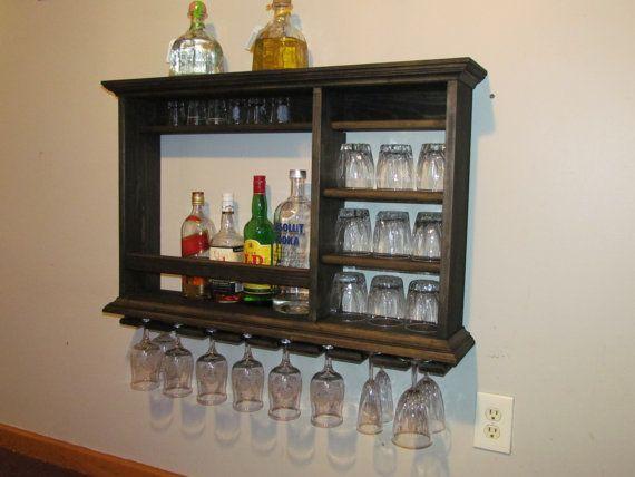 Hanging Bar Mini Bar 3 X 2 Ebony Stain Wall By Dogwoodshop