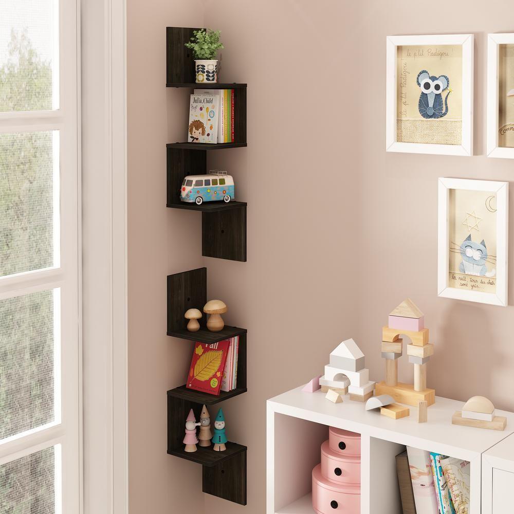 Furinno Espresso 3 Shelf Square Floating Corner Shelf 2 Pack 2fr16127ex In 2020 Shelves Floating Corner Shelves Corner Shelves