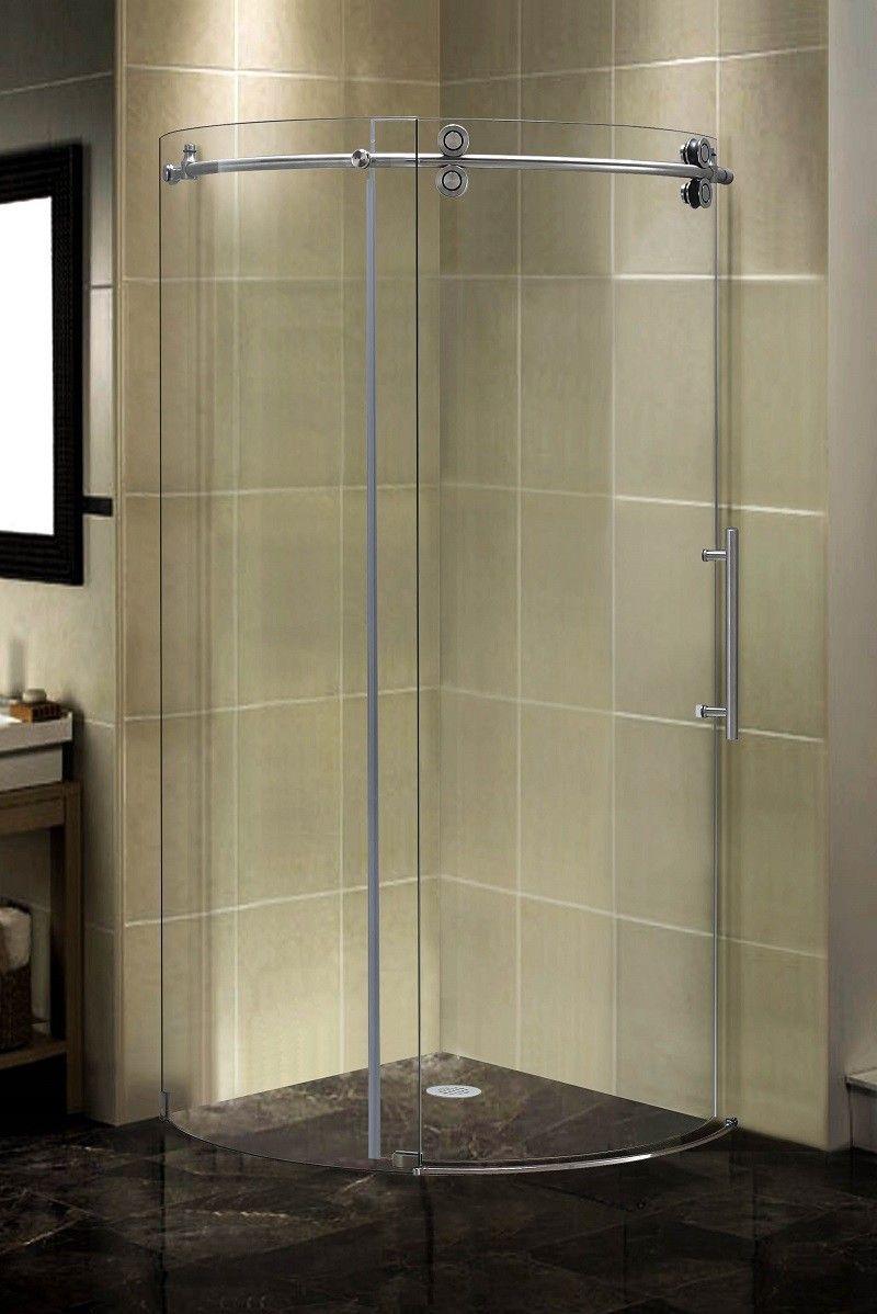 "38.5"" x 38.5"" x 75"" Completely Frameless Round Sliding Shower Door Enclosure"