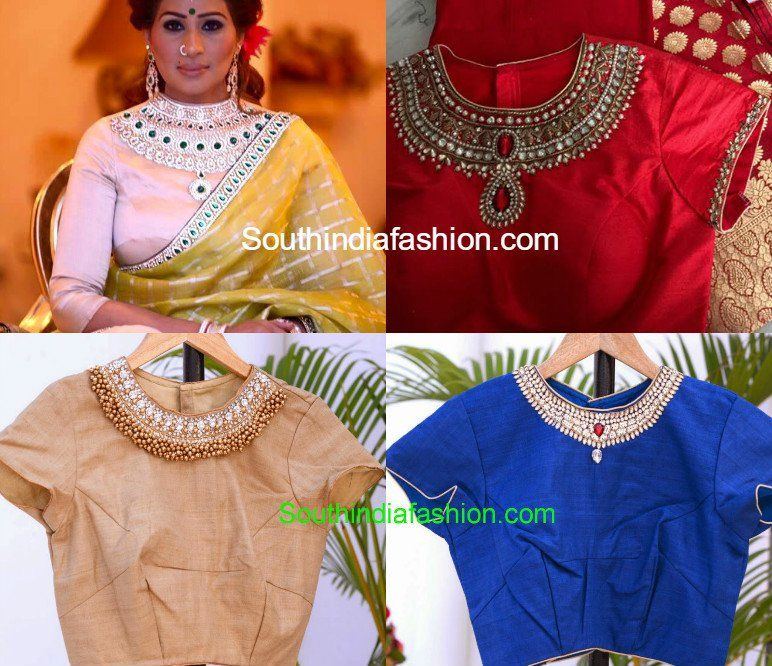 jeweled neckline saree blouse models