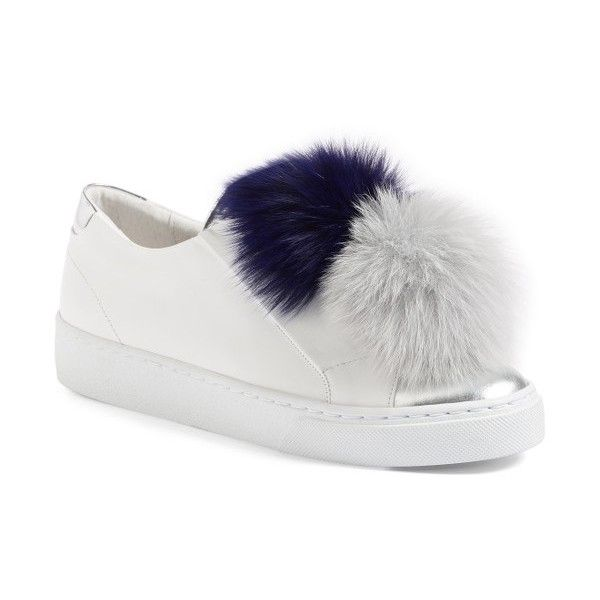 Women's Here/now Arian Genuine Fox Fur Trim Sneaker ($240) ❤ liked on Polyvore featuring shoes, sneakers, leather trainers, pom pom shoes, genuine leather shoes, leather sneakers and leather footwear