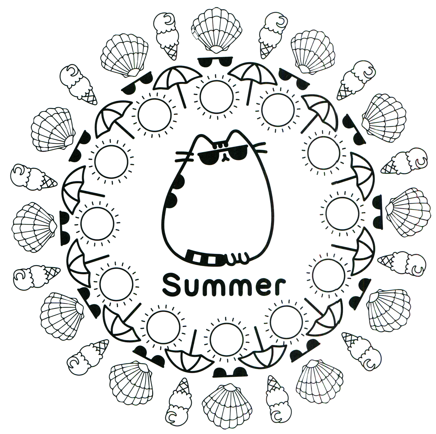 Pusheen Coloring Book Pusheen Pusheen The Cat Summer Coloring Pages Pusheen Coloring Pages Coloring Pages For Teenagers
