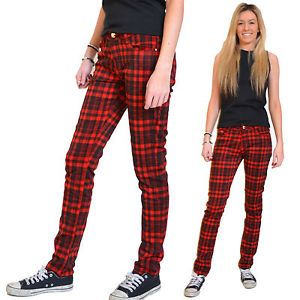 Details about New Ladies Womens Red & Black Tartan Check Pants Red ...