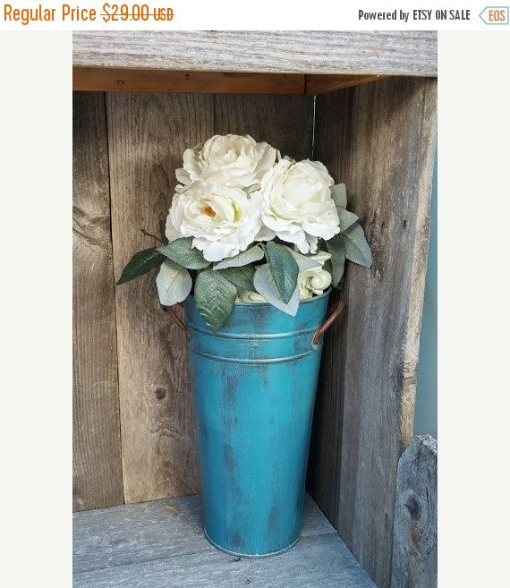 Wedding Sale Turquoise Galvanized Steel Tall Rustic Flower Pot Vase