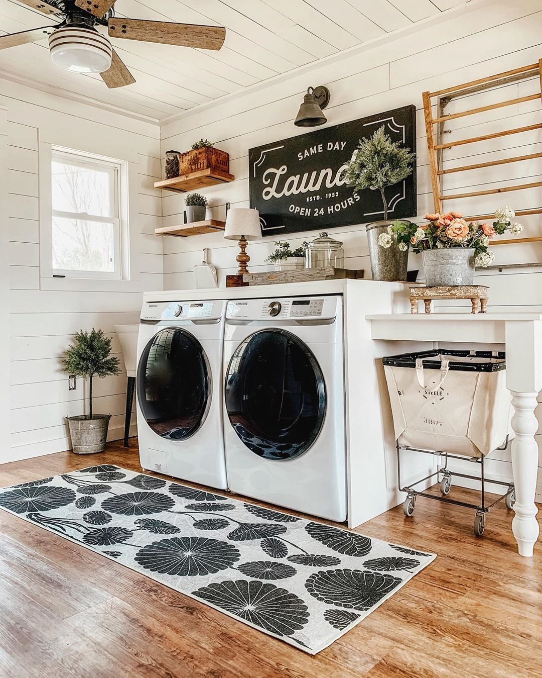 BEAUTIFUL farmhouse laundry room decor by @our_forever_farmhouse. You can try other @ruggable rugs like this one in your own home with the DecorMatters app, link in bio! Click the image to try our free home design app.  (Keywords: laundry room ideas, laundry room decor, small room decor, laundry room organization, laundry room colors, laundry room shelf, small laundry room ideas dream home, home decor ideas, diy home decor, laundry room makeover)