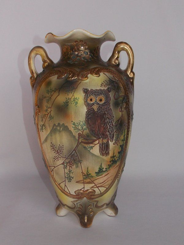 Rare Antique Royal Nippon Nishiki Japanese Porcelain Moriage Owl Bird 12 5 Quot Vase Nippon In