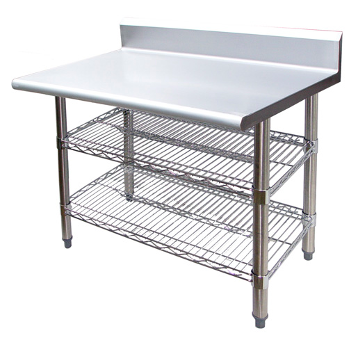 Universal B5ts2460 60 X 24 Stainless Steel Work Table W Back Splash And Wire Under Shelf Stainless Steel Table Stainless Steel Work Table Steel Table