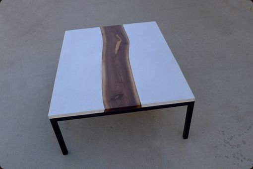 Custom Made Concrete Steel And Live Edge Walnut Table The - Custom made concrete table