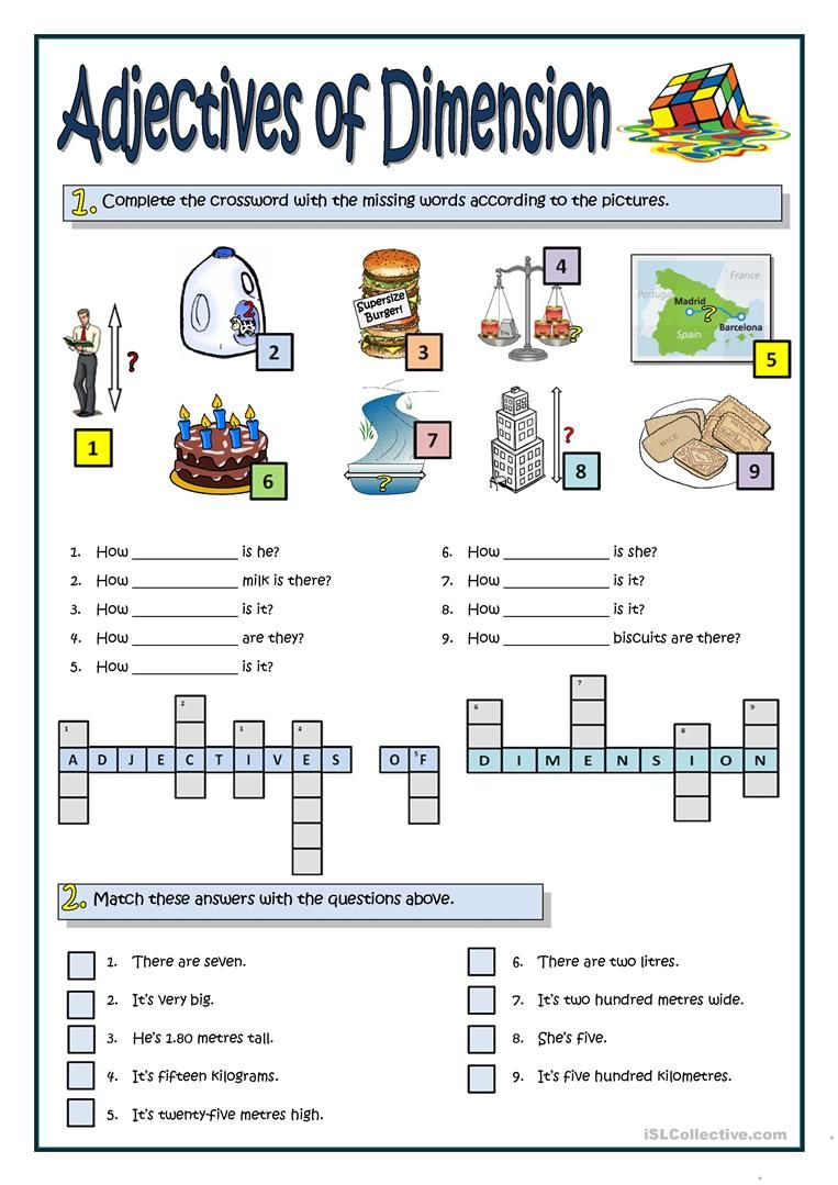 ADJECTIVES OF DIMENSION worksheet - Free ESL printable worksheets made by  teachers   Adjectives [ 1079 x 763 Pixel ]