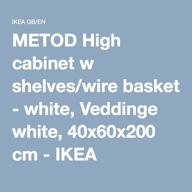 METOD High cabinet w shelves/wire basket White/veddinge grey 60 x 60 ...