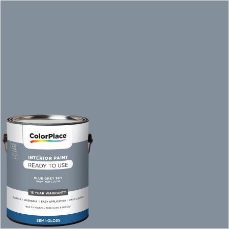 Colorplace Pre Mixed Ready To Use Interior Paint Blue Grey Sky Semi Gloss Finish 1 Gallon Walmart Com Interior Paint Blue Gray Paint Walmart Paint Colors