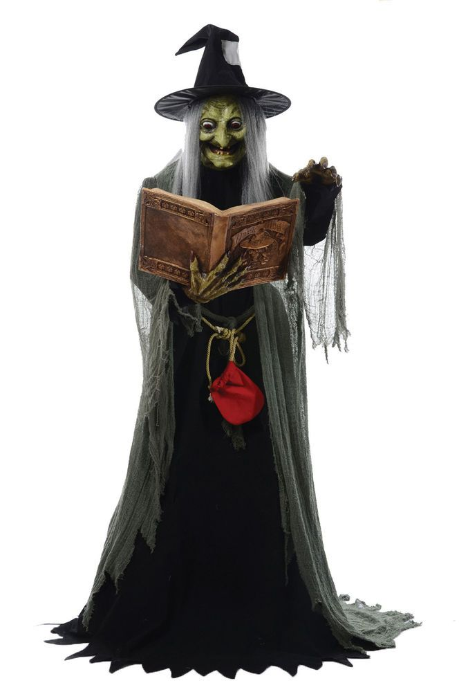 Spell Speaking Witch Animated Halloween Lifesize Prop Haunted House - halloween decorations haunted house