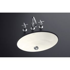 Kohler Thoreau Biscuit Cast Iron Undermount Oval Bathroom Sink With Overflow 2907 4u 96 Sink Bathroom Sink Undermount Bathroom Sink