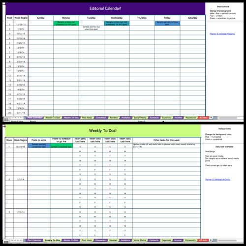 Blog Planning Spreadsheets Download Included Slim Sanity - spreadsheet free download for mobile