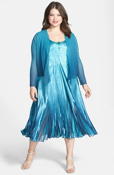 Komarov Chiffon Charmeuse Dress With Jacket Plus Size Available