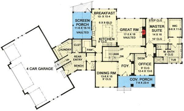 Plan 14605rk Craftsman Home Plan With Angled 4 Car Garage Craftsman Style House Plans Craftsman House Plans Pole Barn House Plans
