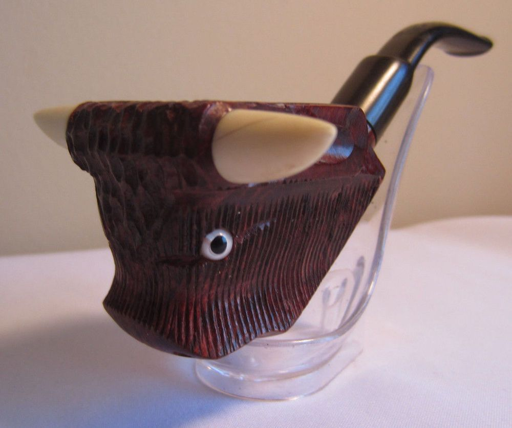 Vintage estate pipe dr grabow golden duke filtered pipe imported briar - Vintage Bent Handcarved Bull Shaped Briar Estate Tobacco Smoking Pipe Italy
