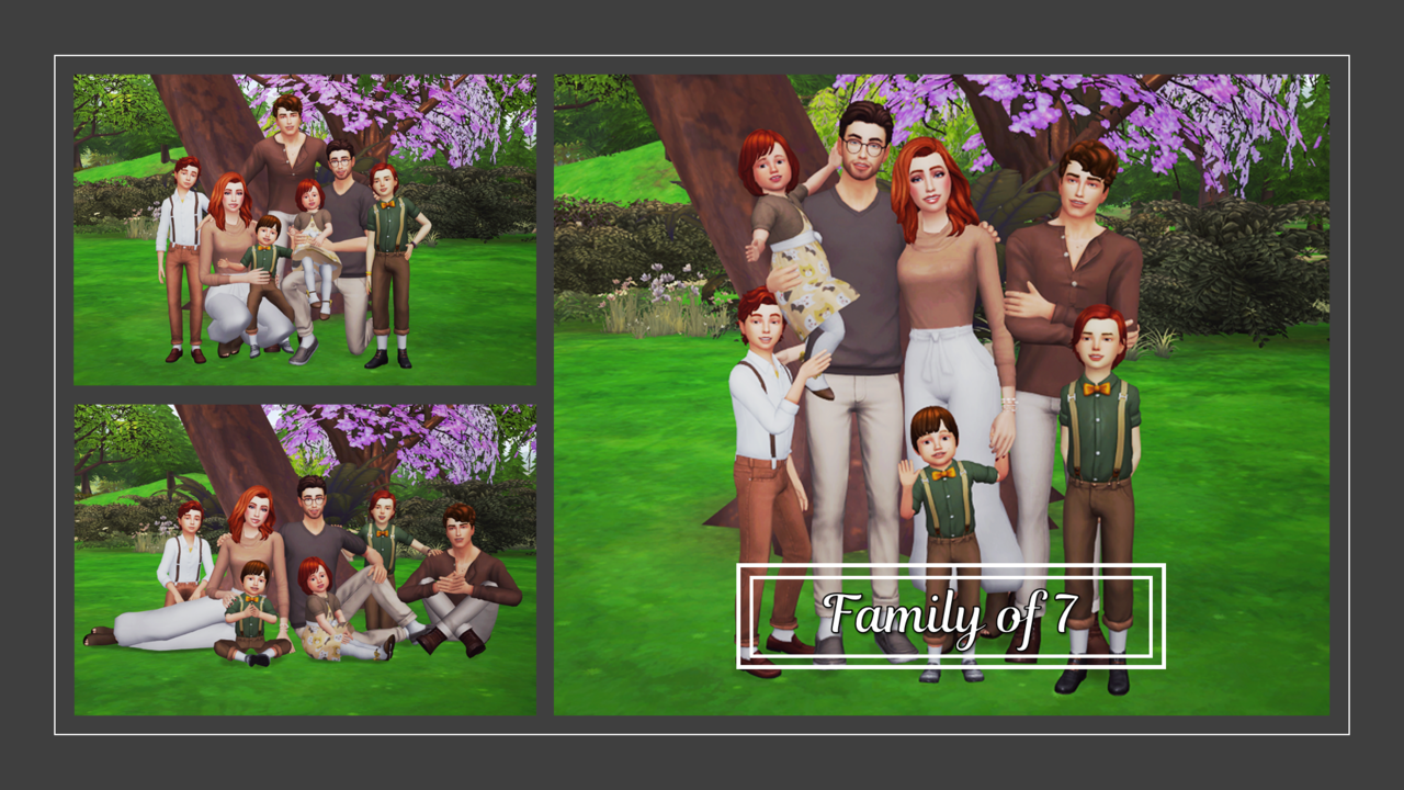 Family of 7 Posepack the sims 4 in 2020 Sims 4 family