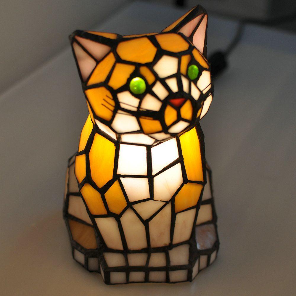 Lampe De Table Chat Tiffany Pour Chambre A Coucher Chevet Style Antique Avec Images Lamp Lampes De Table Lampes Tiffany