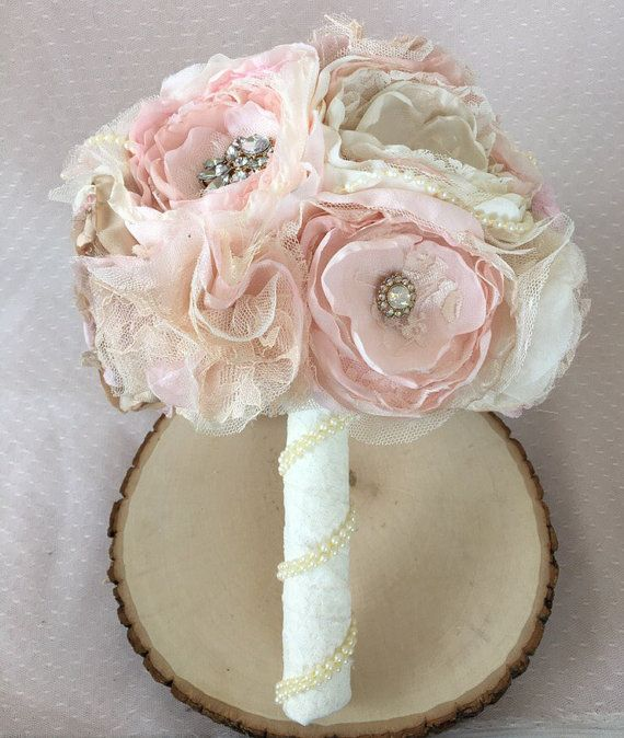 Blush and lace fabric bouquet, brooch fabric flower bouquet | Fabric ...