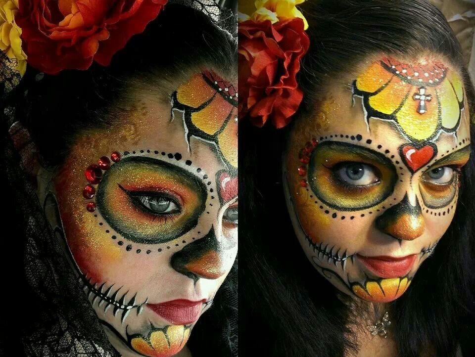 colorful dia de los muertos sugar skull makeup accented