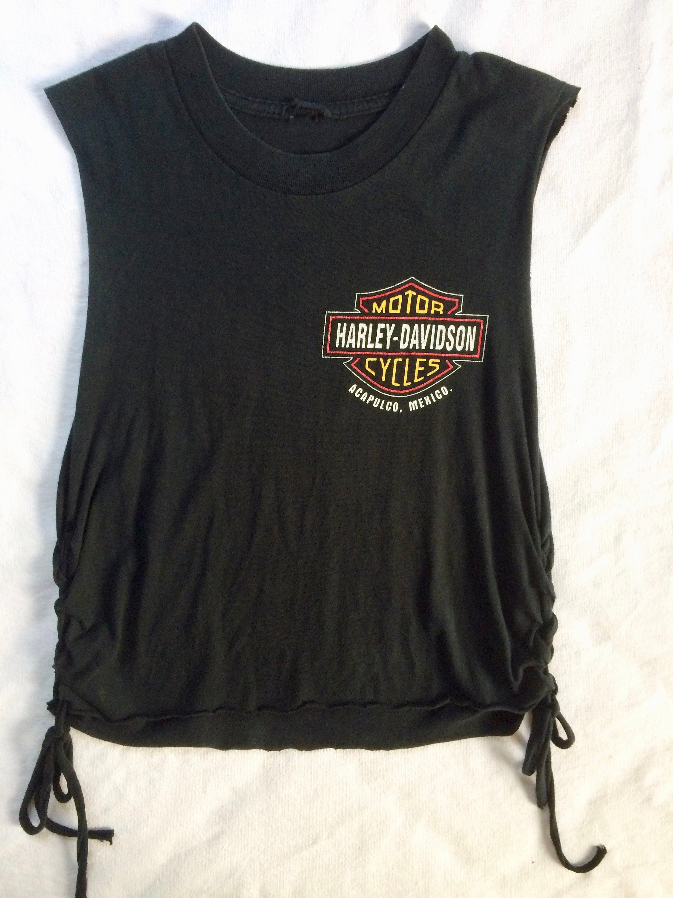 3864e8b6 Custom Original Harley Davidson size S Vintage laced distressed t shirt tee  t-shirt tank Mexico Acapulco Unique by SalvajeVintageSupply on Etsy