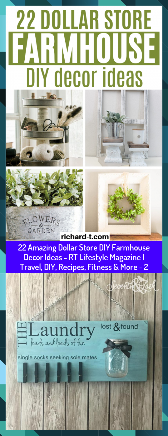 22 Amazing Dollar Store DIY Farmhouse Decor Ideas - RT Lifestyle Magazine | Travel, DIY, Recipes, Fi...