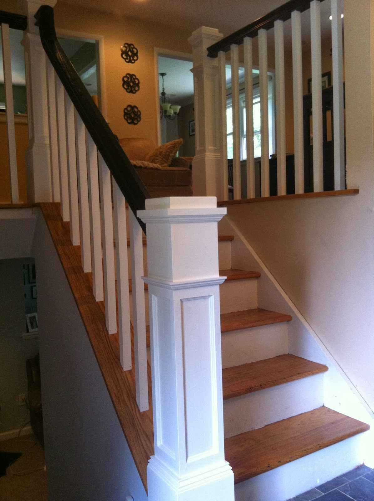 Wood Stairs and Rails and Iron Balusters New Box Newels