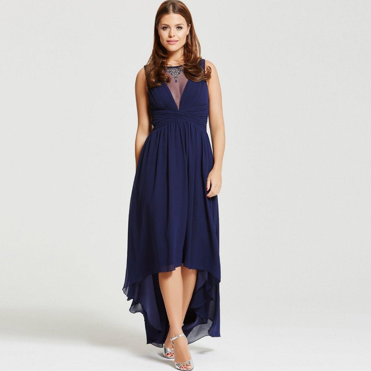 Black dress debenhams - Black Lace Bodice Dip Hem Maxi Dress