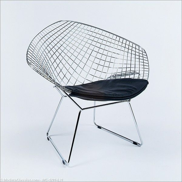 Bertoia Diamond Chair Reproduction In Black Leather Bertoia