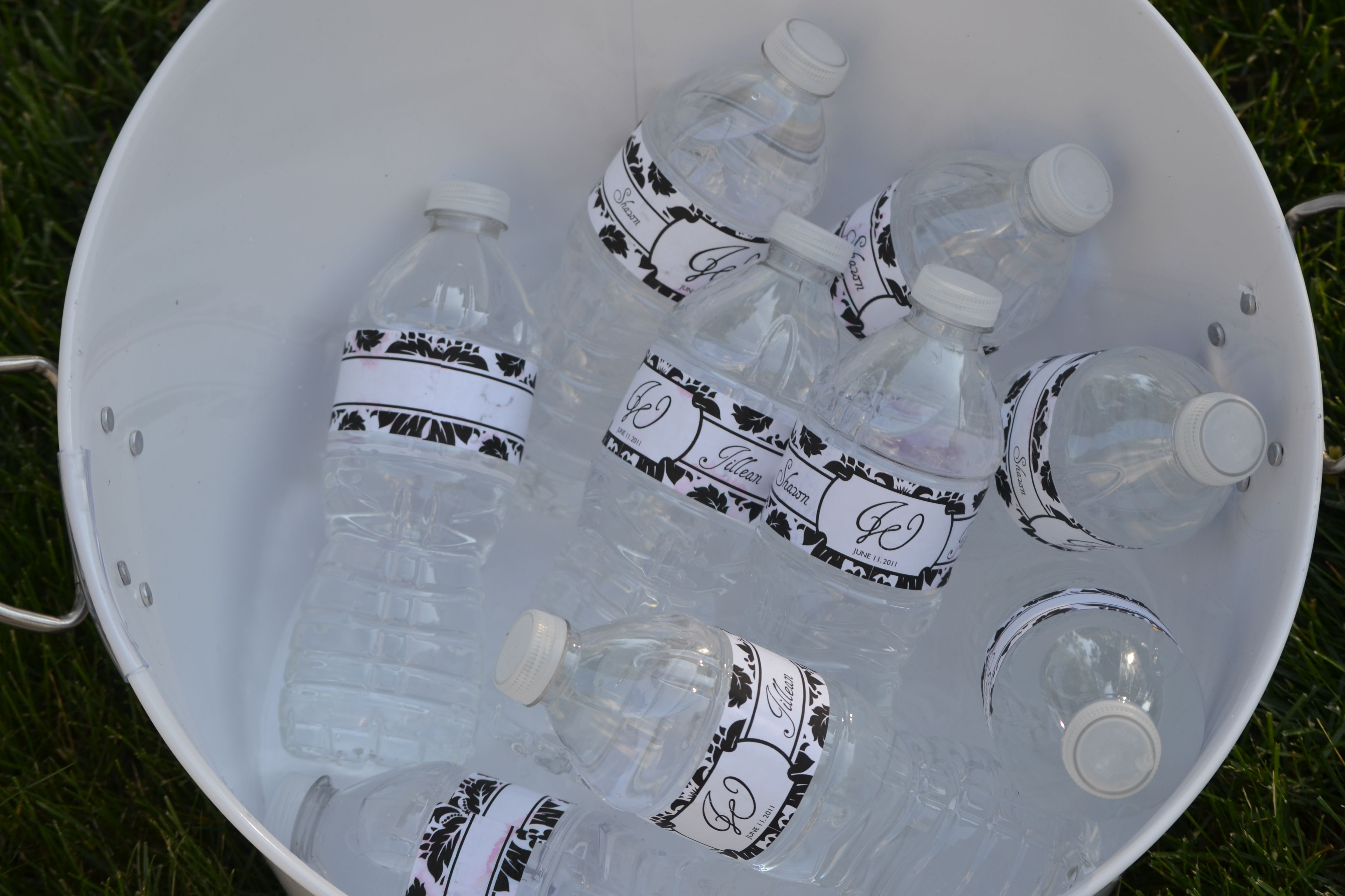 DIY Damask Water Bottles I made for our wedding guests.