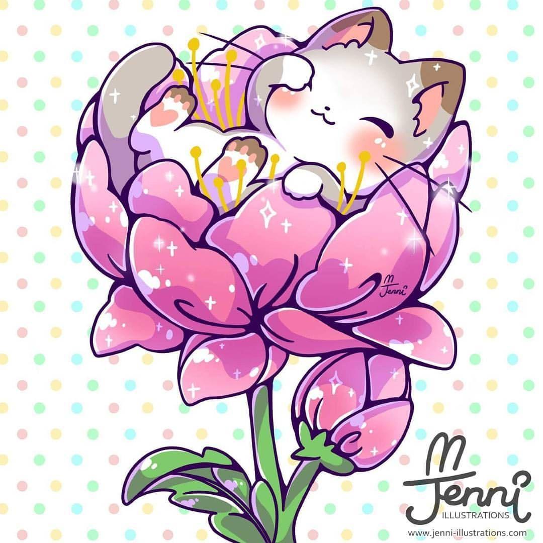Kitty in a flower 💖🐱🌸 . . . kitty flower minicat chibi