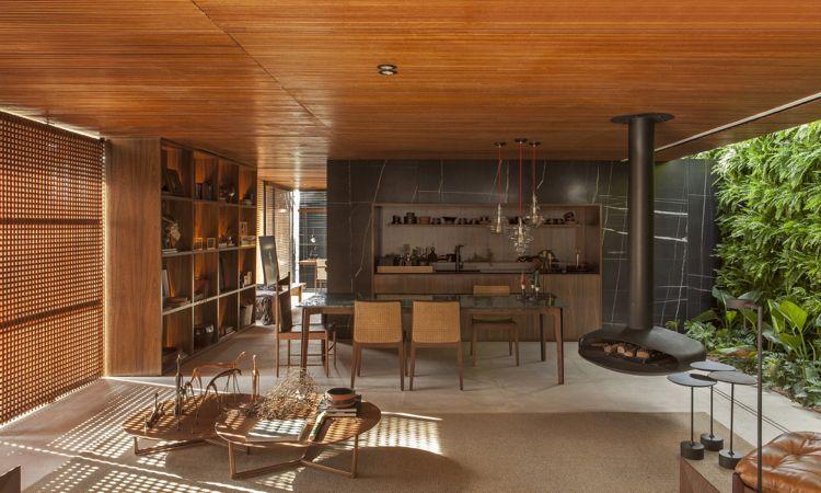 Sichtschutz Innen Holzgitter Fenster Offene Küche Modern Holz Kaminofen  Schwebend Garten #luxury #house #