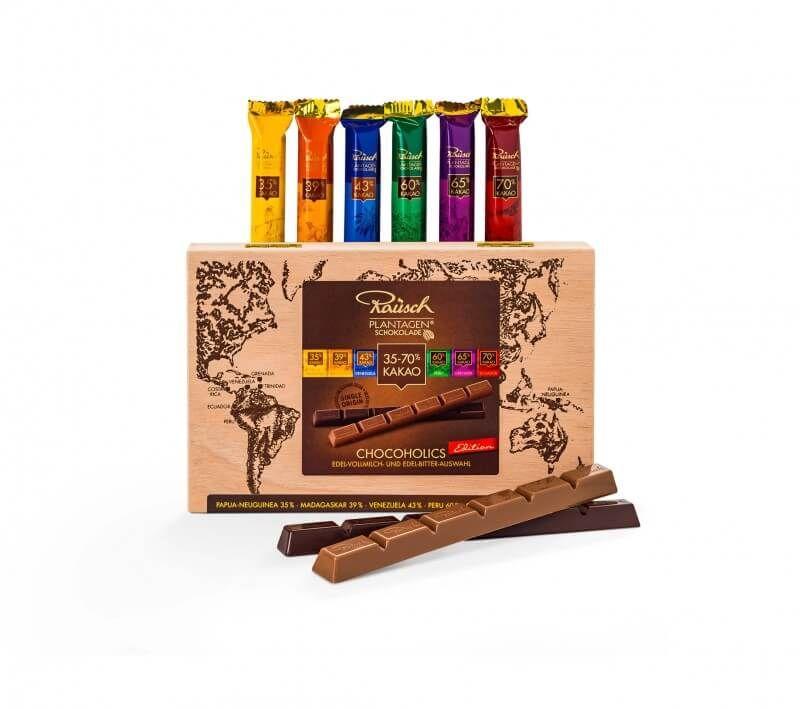 12 edel schokoladen sticks mit unterschiedlich hohem kakaoanteil in einer eleganten holzkiste. Black Bedroom Furniture Sets. Home Design Ideas