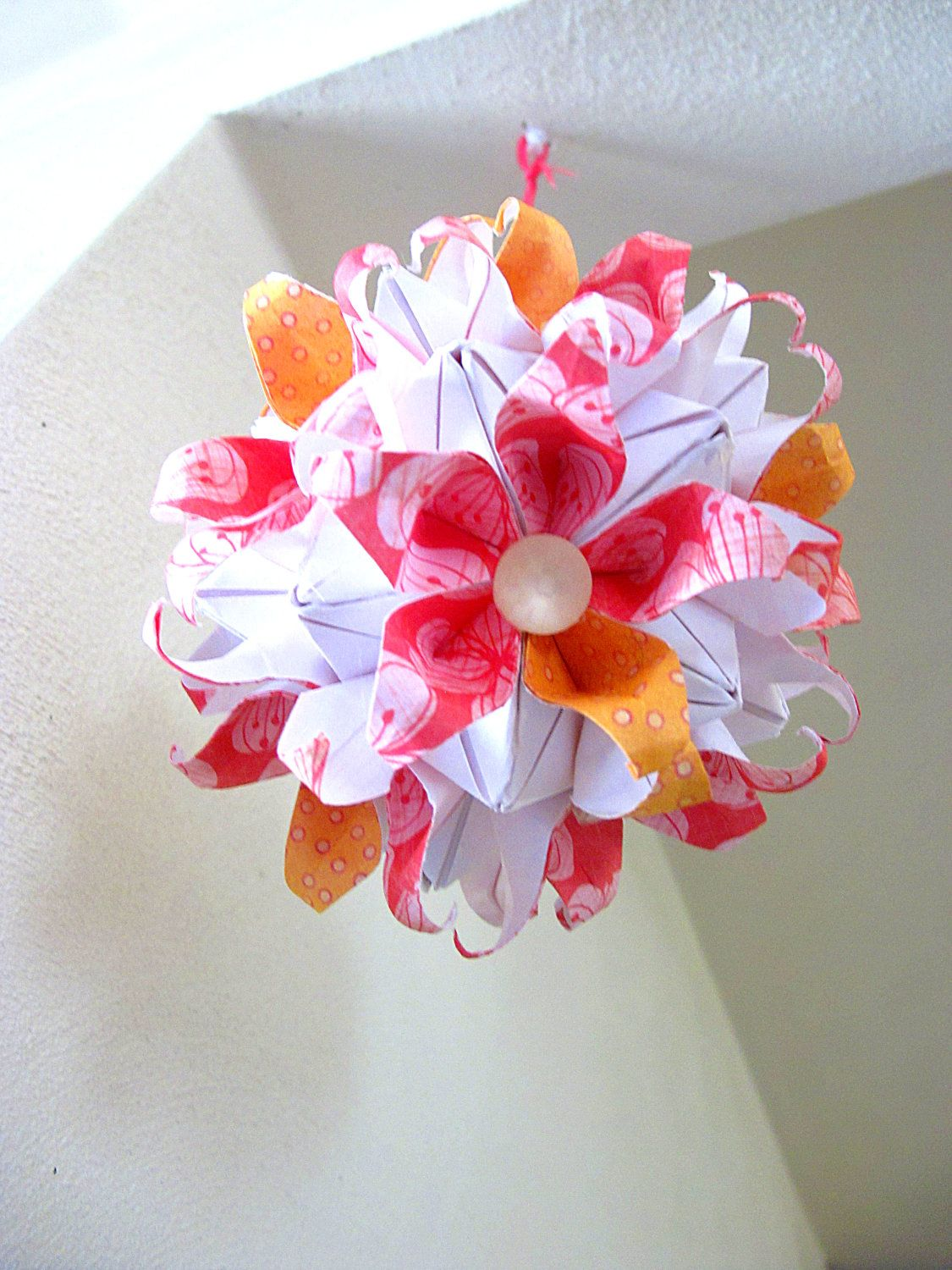 Kissing ball paper flower pomander pink orange and white kusudama kissing ball paper flower pomander pink orange and white kusudama flower hanging ball decoration mightylinksfo Choice Image