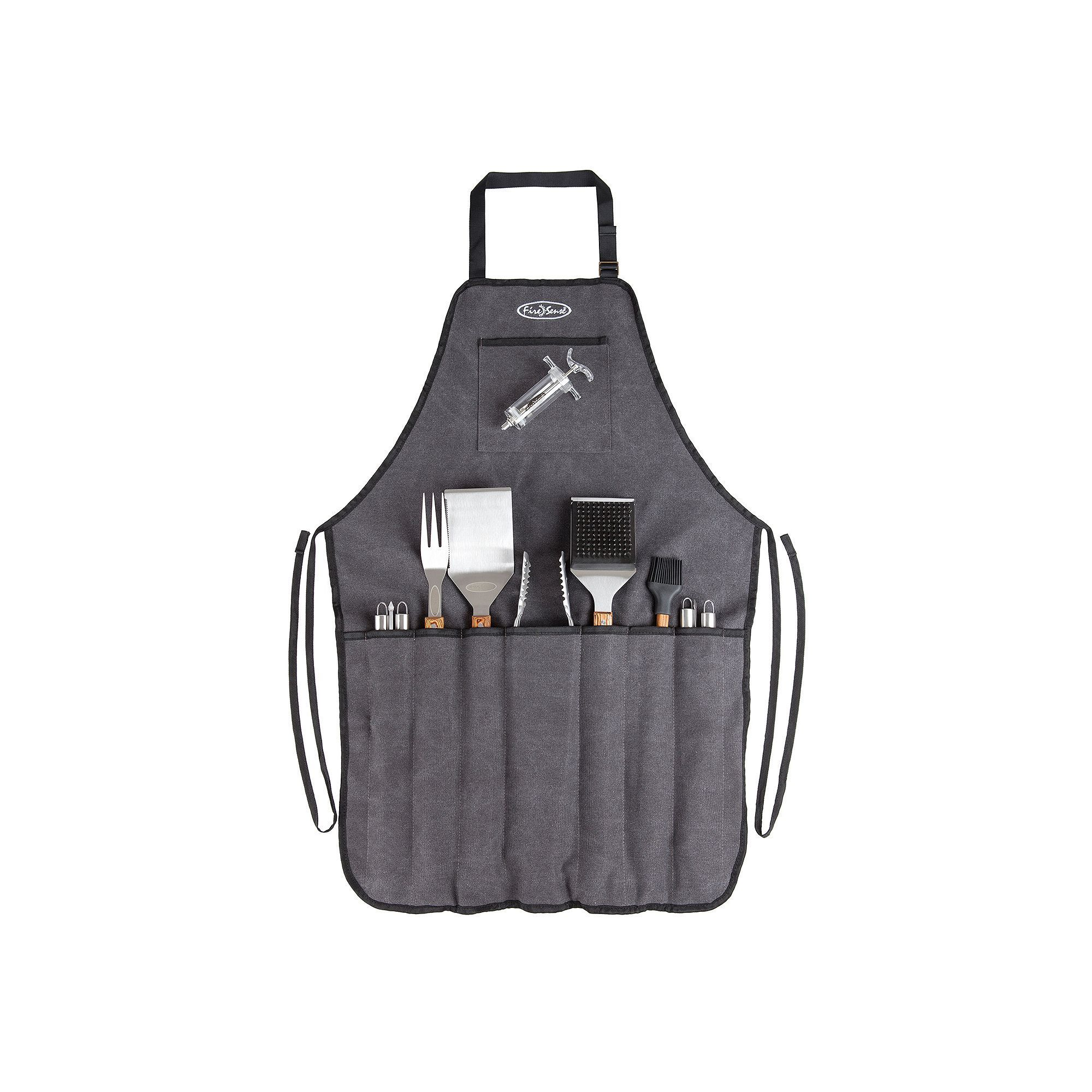 Fire Sense Elite Stainless Steel BBQ Tool & Apron Set Silver
